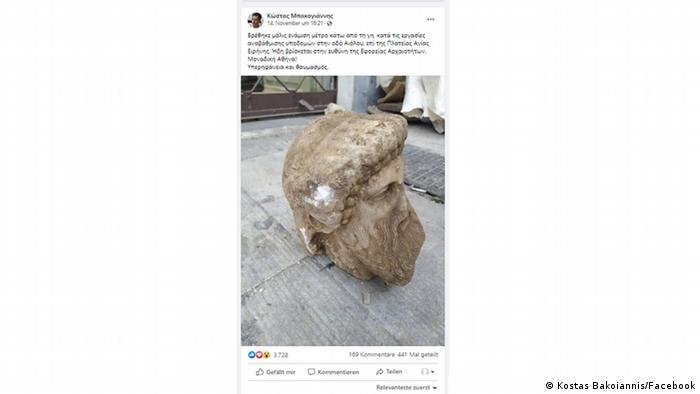 Screenshot Facebook | Hermes-Kopf-Posting des Bürgermeisters von Athen, Kostas Bakoiannis
