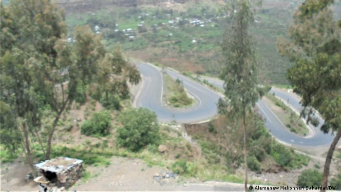 A hilly roadside in Ethiopia's Tigray region