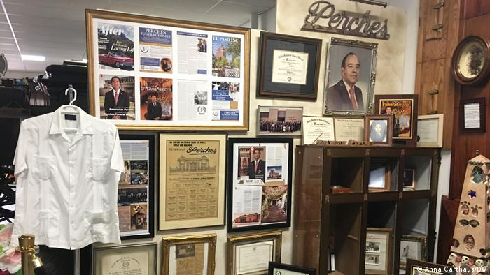 A corner of one of Ortiz's funeral homes filled with mementos and remembrances of the past
