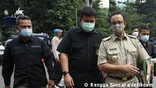 The Indonesian Police mentioned that Jakarta Governor Anies Baswedan and the Leader of Islamic Defenders Front (FPI) Rizieq Shihab would be investigated for alleged criminal acts in Article 93 of Law No. 6 of 2018 concerning Health Quarantine, in which the penalty was noted up to a maximum of 10 years imprisonment. Photo credit: Rengga Sancaya/detikcom