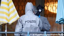 Police forensic officers work at the scene during raids in Berlin, after thieves grabbed priceless jewels from the historic Green Vault museum (Gruenes Gewoelbe) in the city of Dresden last year, in Germany, November 17, 2020. REUTERS/Hannibal Hanschke