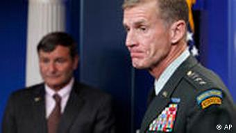 Commander of U.S. and NATO forces in Afghanistan Gen. Stanley McChrystal, right, and U.S. Ambassador to Afghanistan Karl W. Eikenberry brief reporters ahead of Afghan President Hamid Karzai's visit at the White House in Washington, Monday, May 10, 2010. (AP Photo/Charles Dharapak)