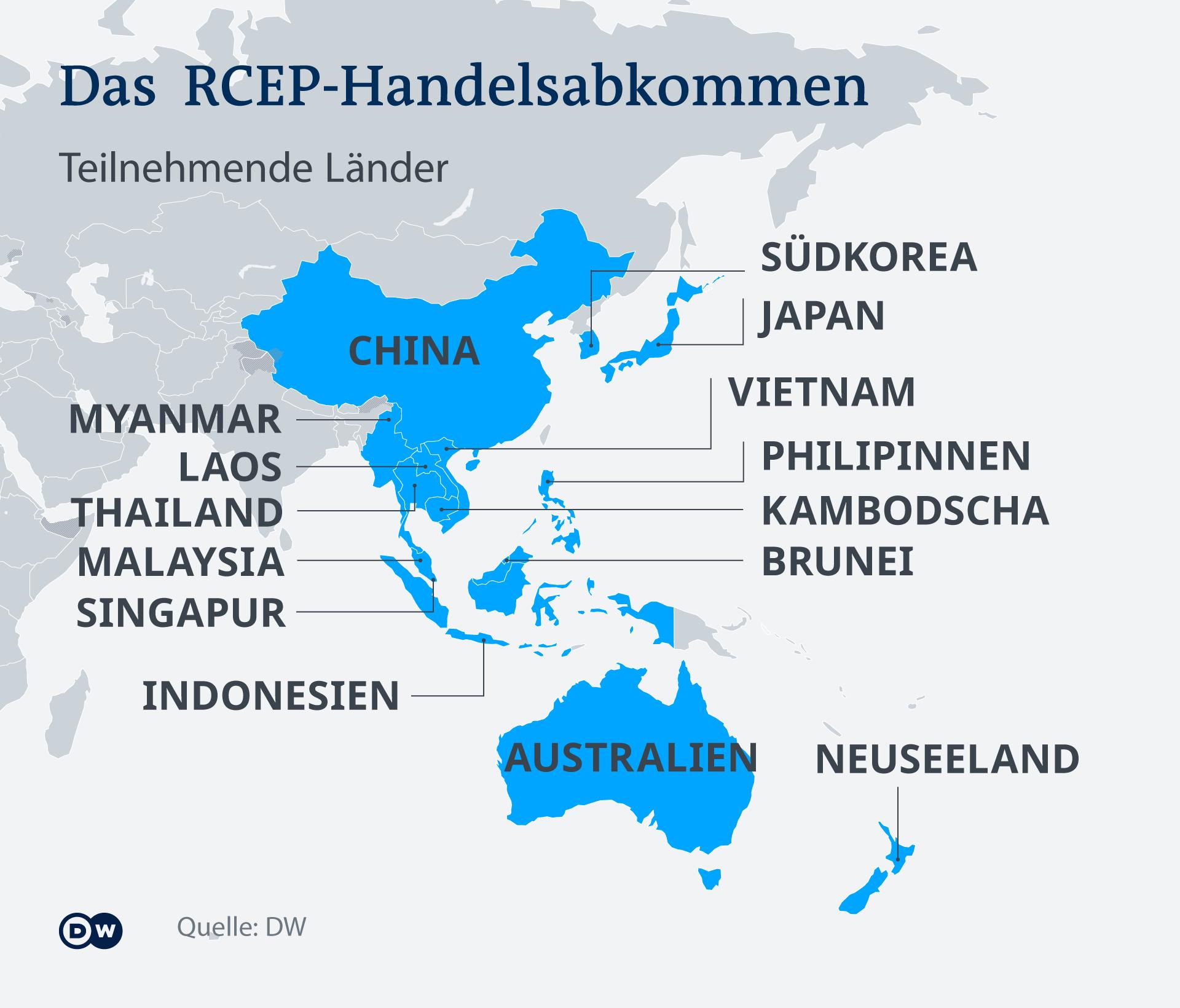Infografik Karte Handelsabkommen RCEP DE