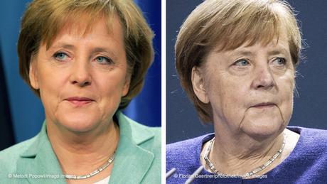 Bildkombo Bundeskanzlerin Angela Merkel 2005 und 2020