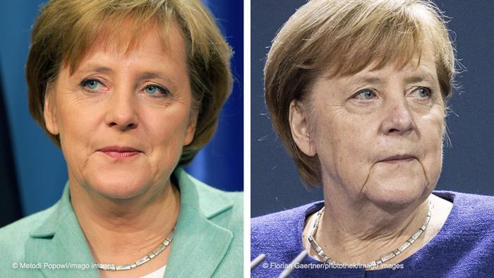 Kanselir Angela Merkel tahun 2005 (kirin) dan 2020 (kanan)