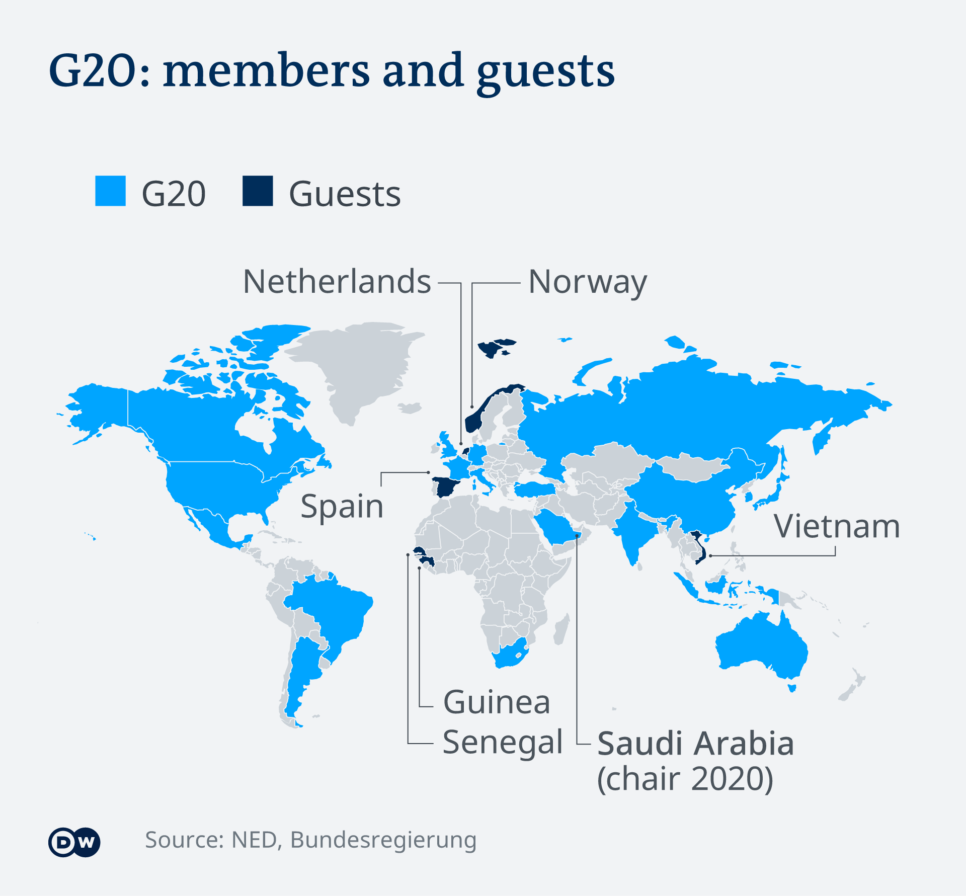 Infographic showing G20 members and guests