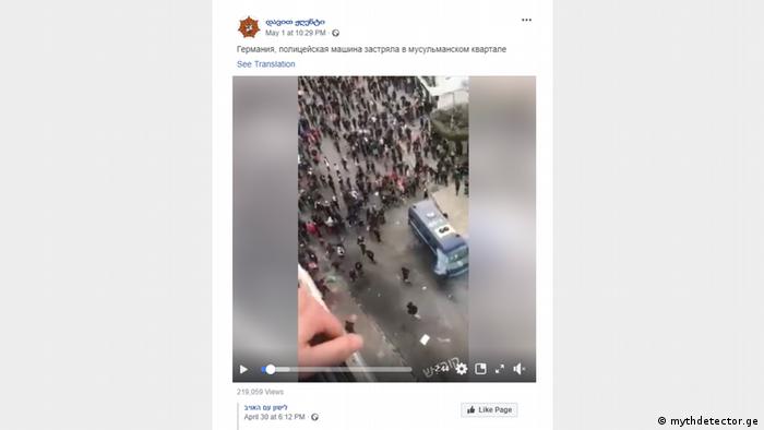 Potongan gambar dari unggahan di Facebook yang menampilkan demonstrasi di Aljazair sebagai kerusuhan oleh warga muslim di Eropa.