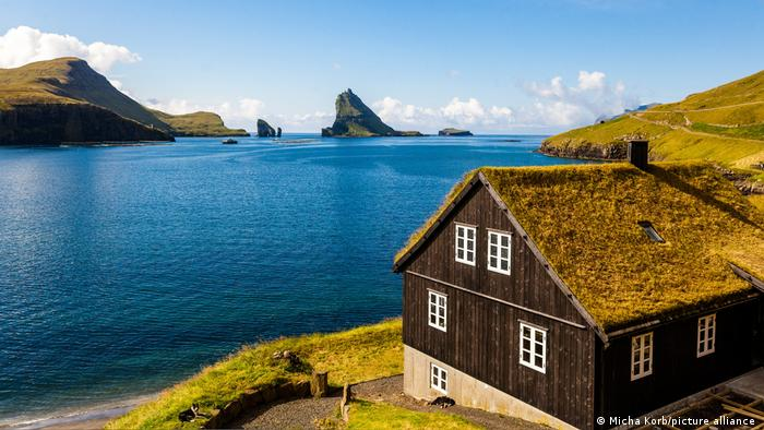 A house by the water side on the Faroe Islands