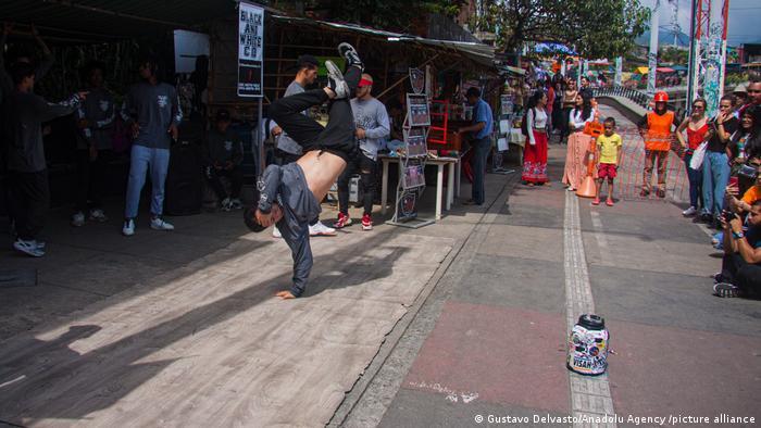 Street dance performer in Medellin, Colombia