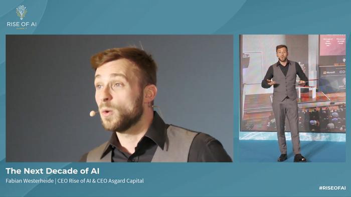Screenshot of Fabian Westerheide, CEO of Rise of AI and Asgard Capital, speaking at the 2020 Rise of AI Summit