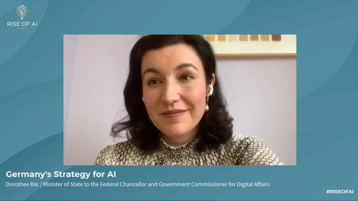 Screenshot of Germany's Federal Government Commissioner for Digital Affairs, Dorothee Bär, speaking at Rise of AI Summit 2020