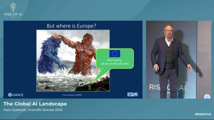 Screenshot of Hans Uszkoreit, scientific director at DFKI, speaking at the 2020 Rise of AI Summit