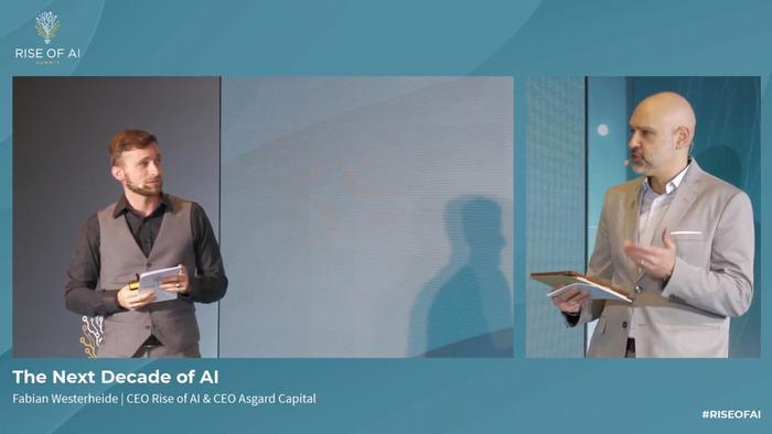 Screenshot of Fabian Westerheide (r), CEO of Rise of AI and Asgard Capital, talking to event host Daniel Finger (l) at the 2020 Rise of AI Summit