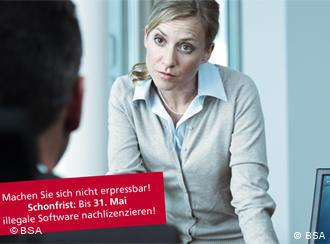 A screen shot of a video for a software piracy amnesty campaign in Germany.
