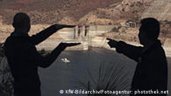 Workers at a dam in Jordan