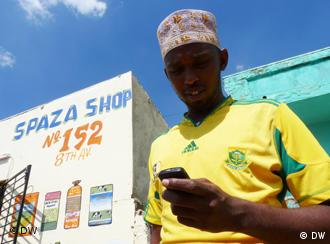 A Somali in his Spaza shop, which are often the targets of xenophobic violence