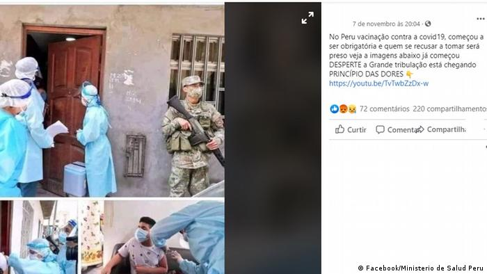 A facebook screen shot showing medical personnel and soldiers in Peru