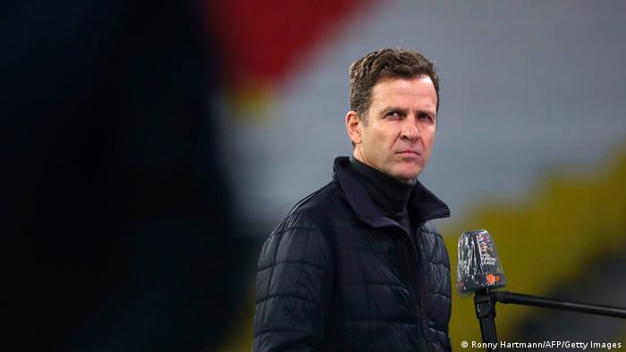 DFB director of football Oliver Bierhoff being interviewed ahead of a Germany game