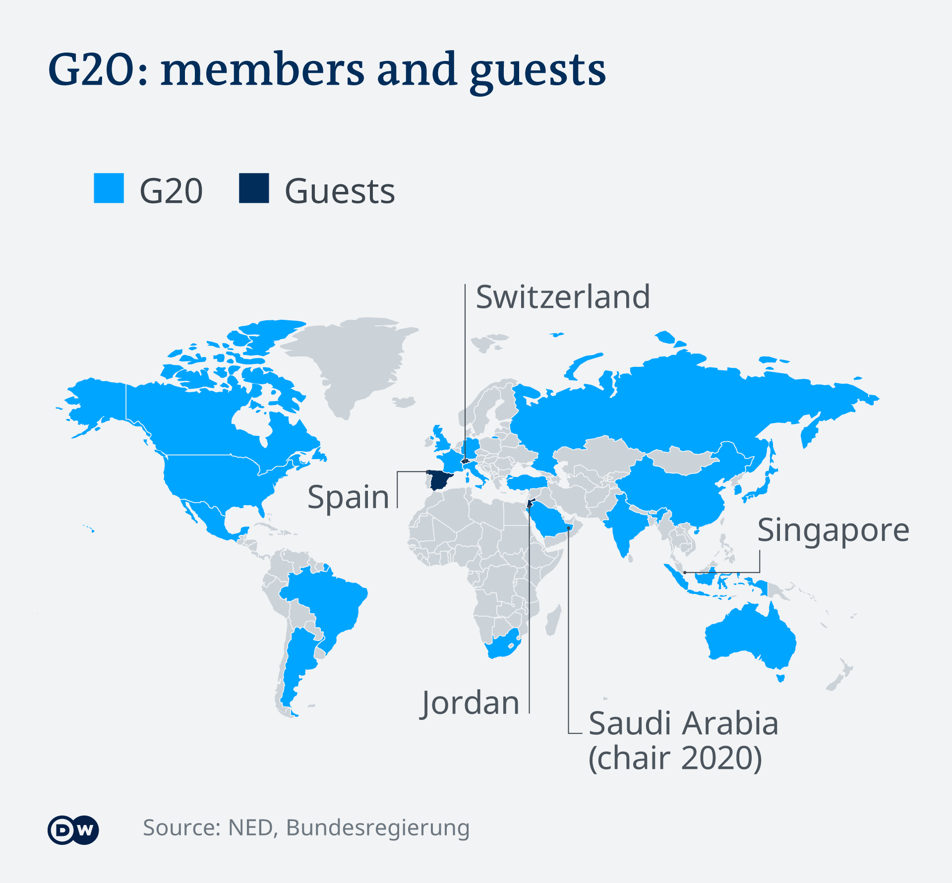 Infographic showing the G20 states and guest countries