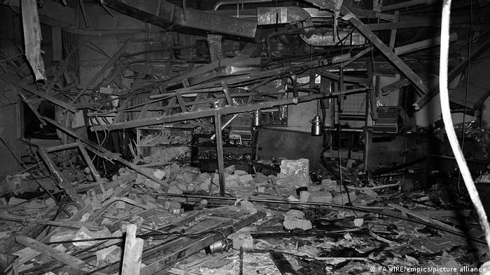 Destruction in the Mulberry Bush pub after the bombing