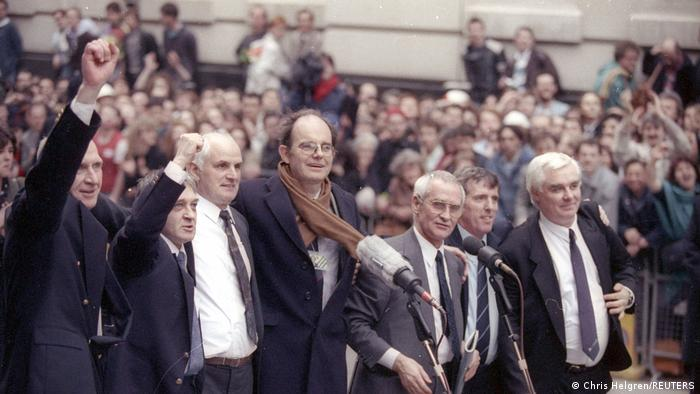 The Birmingham Six after their acquittal in 1991