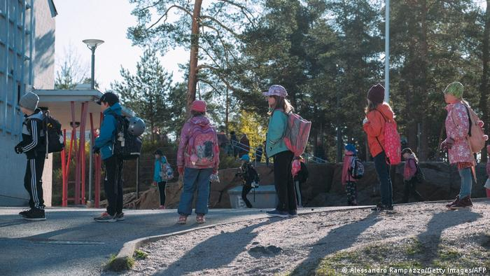 Pupils in Finland queuing in socially distanced manner