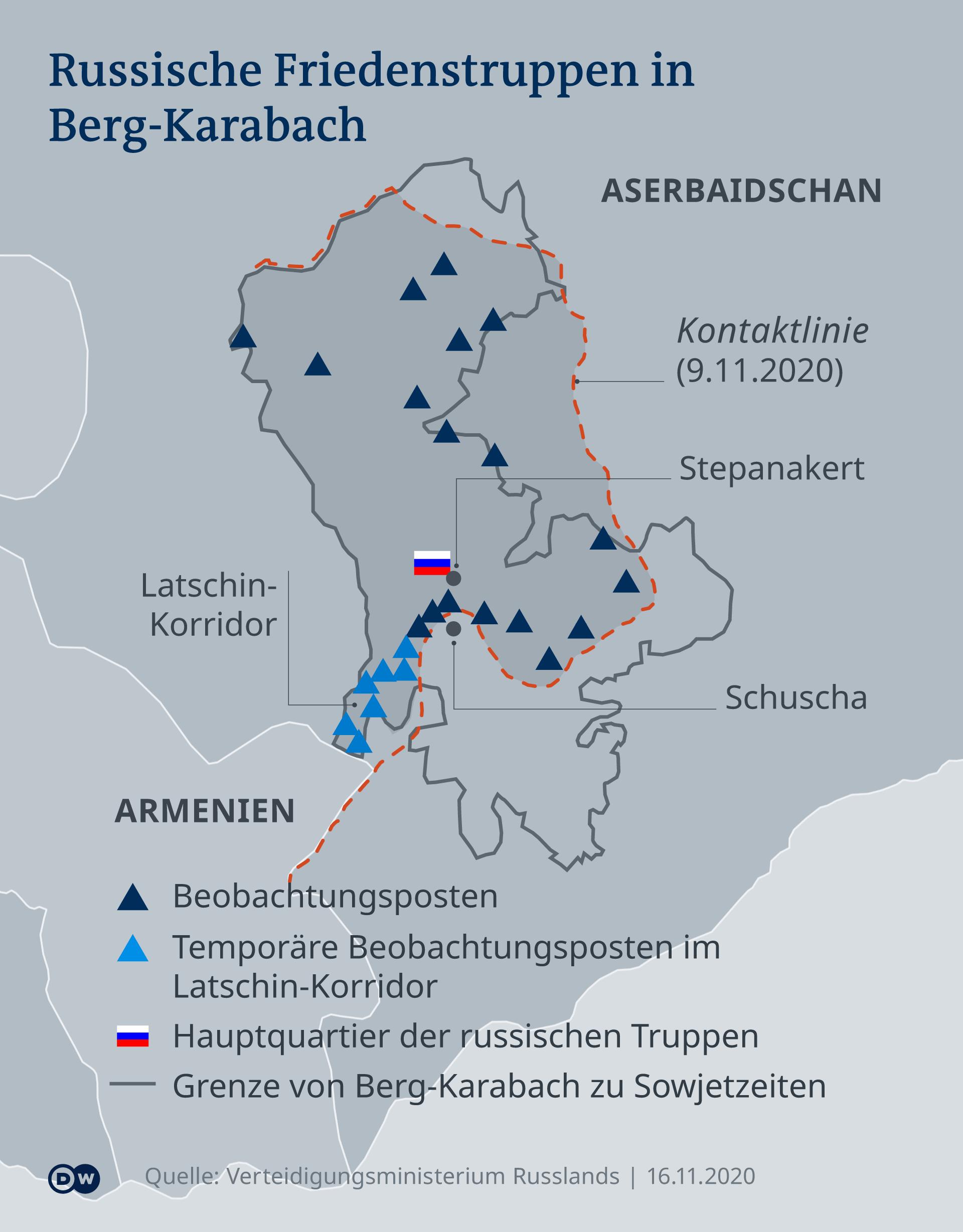 Infografik russische Friedenstruppen in Berg-Karabach DE