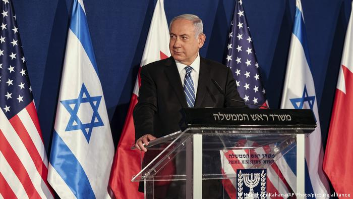 Benjamin Netanyahu speaks to the media at a press conference with US Secretary of State Mike Pompeo
