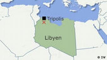 Karte Flugzeugabsturz Tripolis Libyen