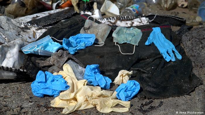 COVID-related masks and gloves recovered on land and underwater by citizen clean up group Operation Mer Propore.