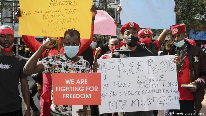Ugandan supporters of opposition presidential candidate Bobi Wine protest his arrest