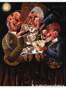 Dix-Bild Die Skatspieler: drei Männer, die stark entstellt dargestellt werden, spielen Skat