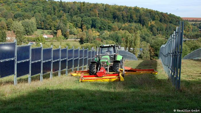 Vertical solar panels on a farm in Germany
