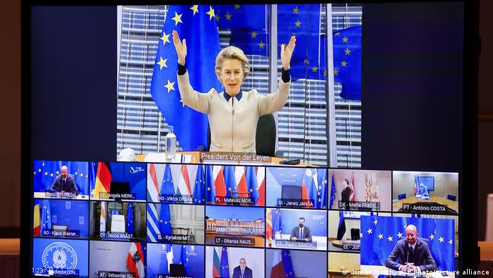 European Commission President Ursula von der Leyen, top, gestures as she talks with EU leaders during an EU Summit video conference at the European Council building in Brussels, Thursday, Nov. 19, 2020.