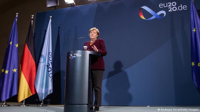 Deutschland Berlin  Angela Merkel Pressekonferenznach EU-Videogipfel