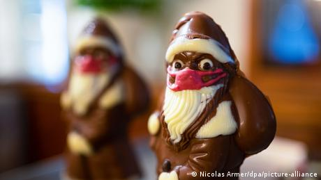 Chocolate Santa Claus with a face mask