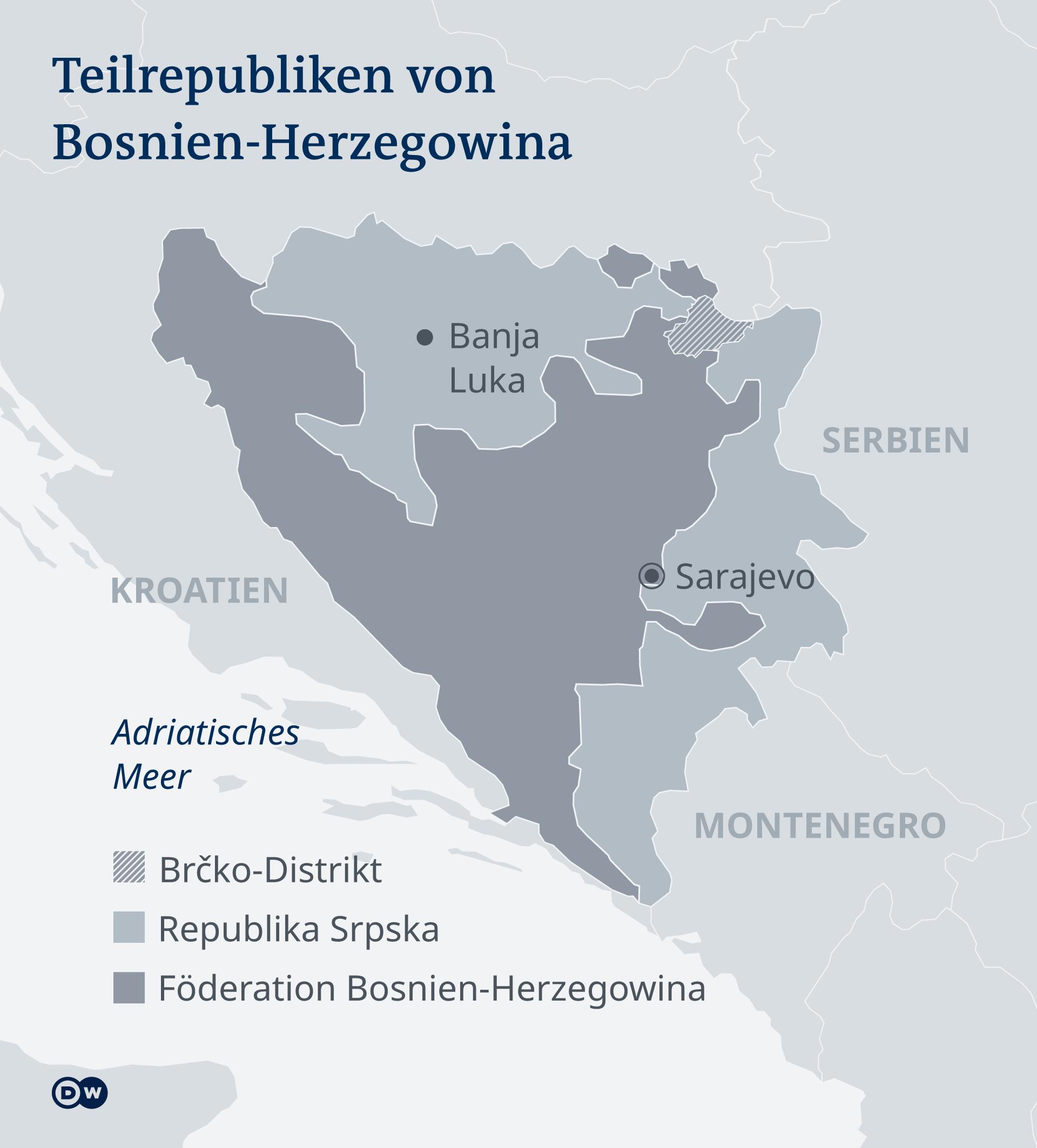 Karte Teilrepubliken Bosnien-Herzegowina