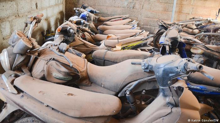 Motorcycles recovered from thieves stores in a shed in Burkina Faso