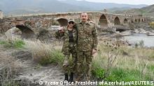 Aserbaidschan Präsident Ilham Alijew und Ehefrau Mehriban Alijewa besuchen Fuzuli und Jabrayil in Berg-Karabach