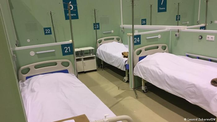 Ліжка для коронавірусних хворих в одній з московських лікарень