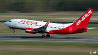An Air Berlin plane takes off from the Tegel airport in Berlin