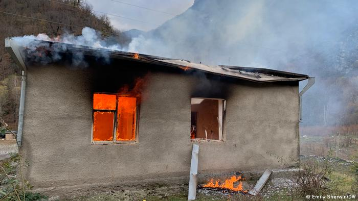 A burning how in the district of Kalbajar
