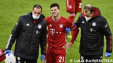Soccer Football - Bundesliga - Bayern Munich v Werder Bremen - Allianz Arena, Munich, Germany - November 21, 2020 Bayern Munich's Lucas Hernandez walks off after sustaining an injury Pool via REUTERS/Lukas Barth / Pool DFL regulations prohibit any use of photographs as image sequences and/or quasi-video.