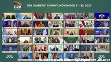 dpatopbilder - HANDOUT - 20.11.2020, Saudi-Arabien, Riad: Salman bin Abdelasis al-Saud (3. Reihe von oben, 4.v.l), König von Saudi-Arabien, und weitere Staats- und Regierungschef der führenden Wirtschaftsnationen nehmen an einer Video-Schalte zum virtuellen G20-Gipfel teil. Eigentlich sollte der Gipfel erstmals in der saudischen Hauptstadt Riad stattfinden. Wegen der Corona-Pandemie werden die Gespräche aber nur per Video-Schalte geführt. Foto: -/G20 Riyadh Summit/AP/dpa - ACHTUNG: Nur zur redaktionellen Verwendung und nur mit vollständiger Nennung des vorstehenden Credits +++ dpa-Bildfunk +++ |