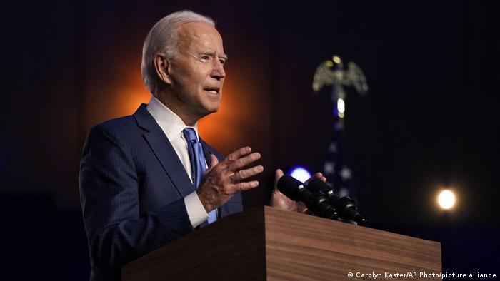 US President-elect Joe Biden speaks