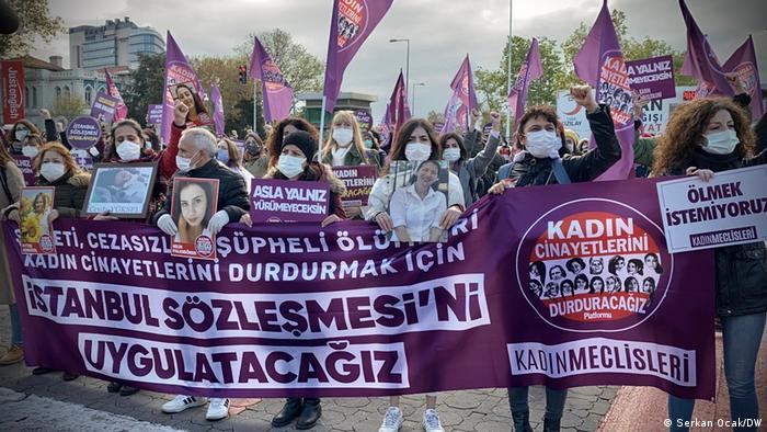 Women in a protest in Istanbul