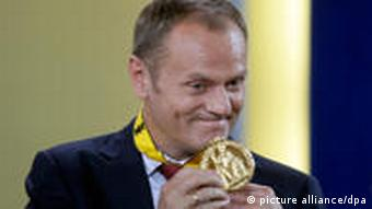 Donald Tusk with Charlemagne medal