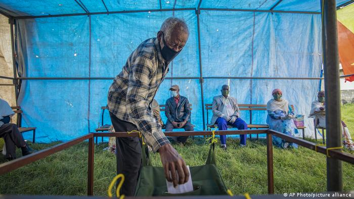 A man casts his ballot in Tigray, Ethiopia