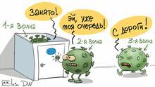 Третья волна коронавируса выстроилась в очередь за второй волной - карикатура Сергея Елкина