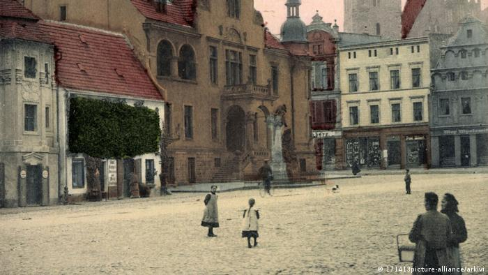 A view of the center of Münsterberg, Prussia in the early 20th century